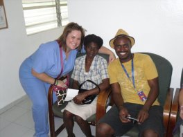 Ginger Gorham-Hart with patients in the waiting room at the Hospital Bernard Mevs Project Medishare